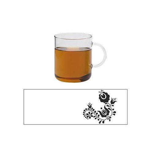 OFFICE teáscsésze - FLOWER, 0.4l - piros