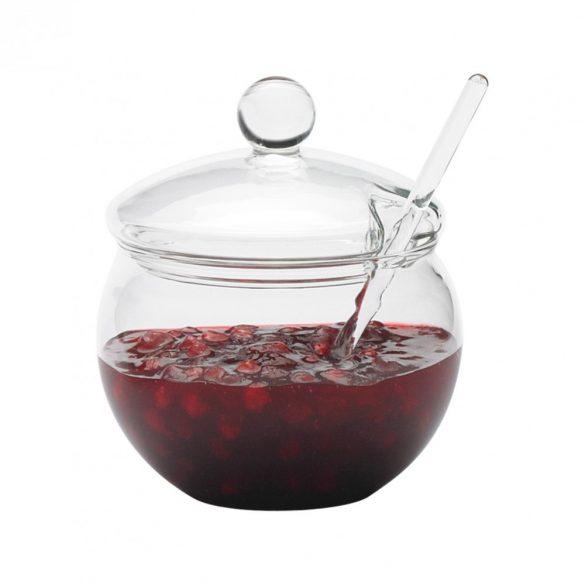 Dzsem tartó üveg tetővel és üveg keverőbottal, 0.25l