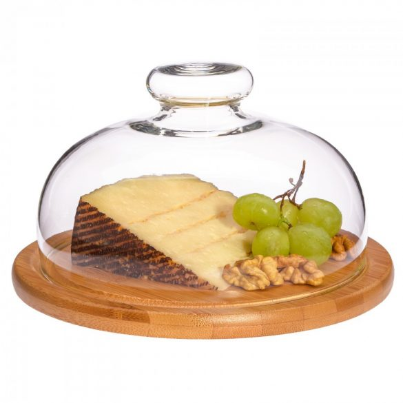 Cheese dome-with bamboo board