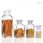 Gyógyszertári tároló mini - szögletes, átlátszó, 0.1l (2db/dob)