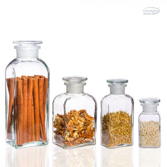 Apothecary bottle big -  square, clear, 0.8l (1pce/box)