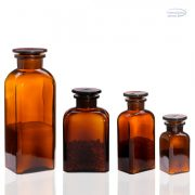 Apothecary bottle small - square, amber, 0.25l (2pcs/box)
