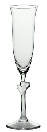 L'AMOUR Pezsgős pohár - selyemmatt szívvel (2db/doboz)