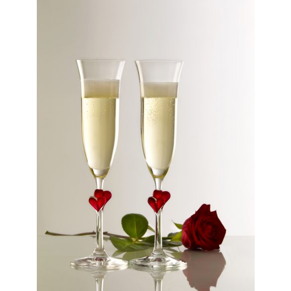 L'AMOUR Flute Champagne - red heart (2pcs/box)